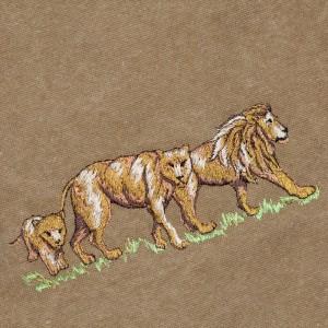 geborduurde leeuwen op een canvas tas