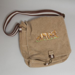 canvas tas met geborduurde leeuwen