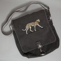 canvas tas met geborduurde panter